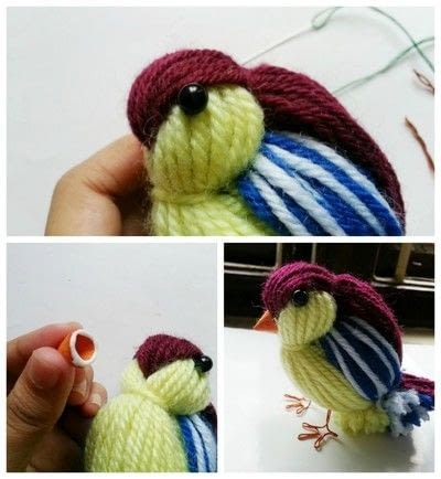 How to make a decoration. Diy Cute Yarn Bird - Step 7