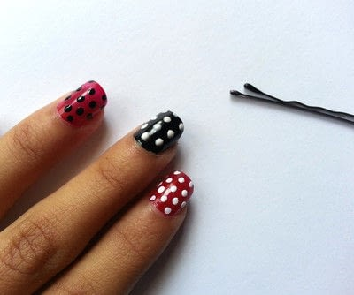 How to paint patterned nail art. Diy Polka Dot Nail Art - Step 5