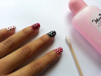 How to paint patterned nail art. Diy Polka Dot Nail Art - Step 6