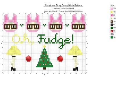 How to cross stitch . Christmas Story Cross Stitch Pattern - Step 1