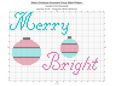 How to cross stitch . Retro Christmas Ornament Cross Stitch Pattern - Step 1