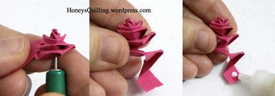 How to fold a piece of quilled art. Paper Quilling Roses - Step 4