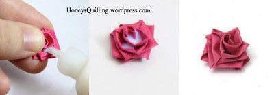 How to fold a piece of quilled art. Paper Quilling Roses - Step 6