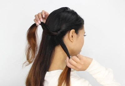 How to style a braided bun. Rope Braid Bun - Step 2