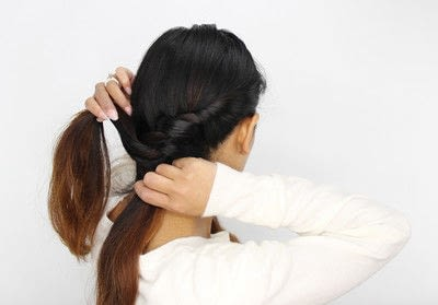 How to style a braided bun. Rope Braid Bun - Step 3