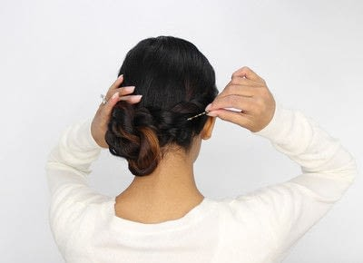 How to style a braided bun. Rope Braid Bun - Step 5