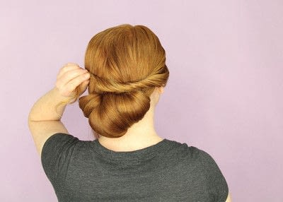 How to style a chignon. Twist Wrap Chignon - Step 9