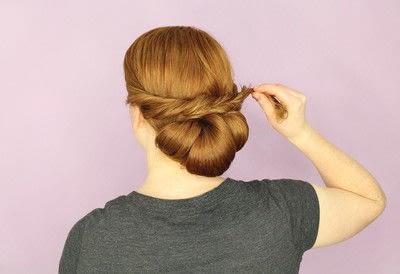 How to style a chignon. Twist Wrap Chignon - Step 11