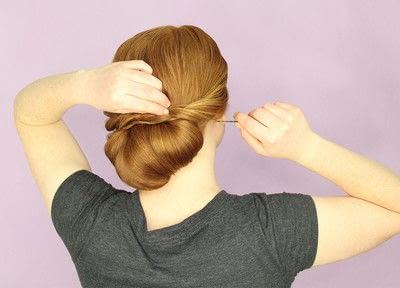 How to style a chignon. Twist Wrap Chignon - Step 12