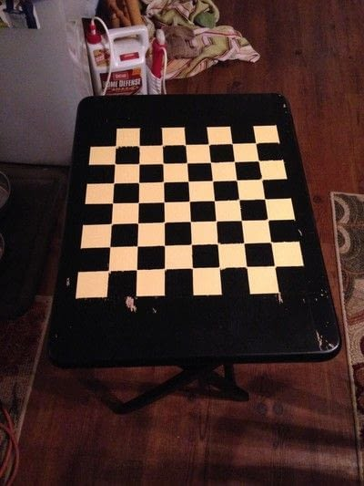 How to make a painted table. Folding Checker Table - Step 9