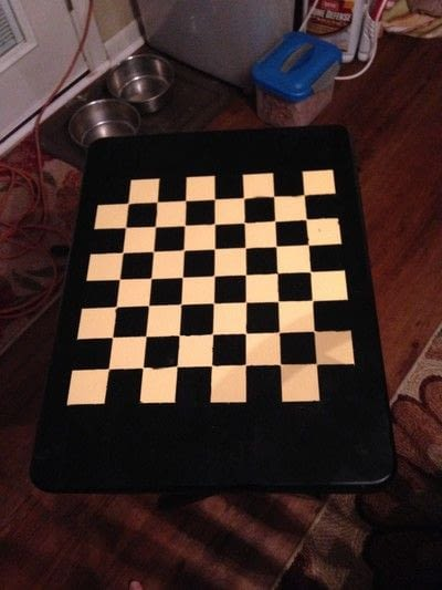 How to make a painted table. Folding Checker Table - Step 10
