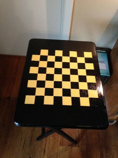 How to make a painted table. Folding Checker Table - Step 11