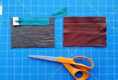 How to sew a leather pouch. Two Tone Recycled Leather Purse - Step 6