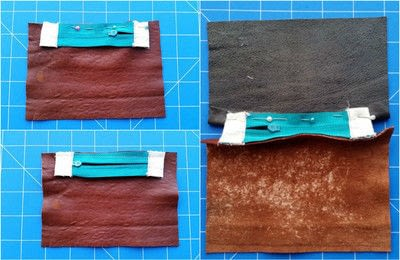 How to sew a leather pouch. Two Tone Recycled Leather Purse - Step 8