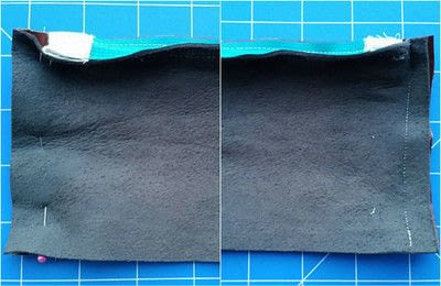 How to sew a leather pouch. Two Tone Recycled Leather Purse - Step 9