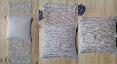 How to stitch a knit or crochet cushion. Chunky Crochet Cushion Cover - Step 5