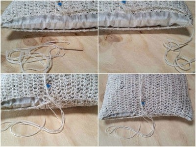 How to stitch a knit or crochet cushion. Chunky Crochet Cushion Cover - Step 6