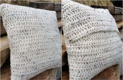How to stitch a knit or crochet cushion. Chunky Crochet Cushion Cover - Step 7