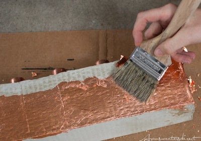 How to make a recycled candle holder. Diy Cement & Copper Candle Centerpiece - Step 7