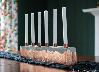 How to make a recycled candle holder. Diy Cement & Copper Candle Centerpiece - Step 8