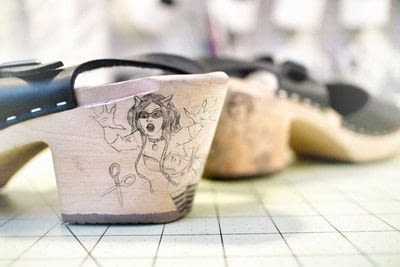How to make a pair of embellished shoes. Tattoo Clogs - Step 6