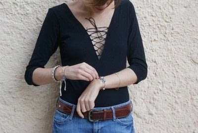 How to make a lace-up top. Lace Up Bodysuit (Diy) - Step 6