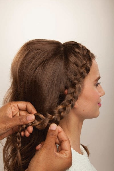 How to style a crown braid. Half Crown Braid - Step 16