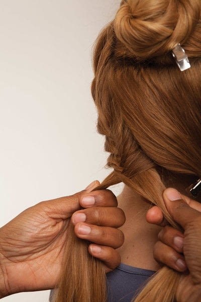 How to style a fishtail braid. The Triple Mermaid Updo  - Step 3