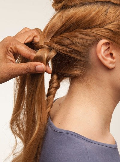 How to style a fishtail braid. The Triple Mermaid Updo  - Step 9