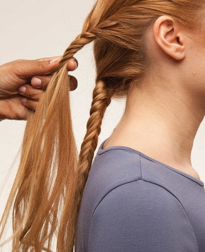 How to style a fishtail braid. The Triple Mermaid Updo  - Step 10