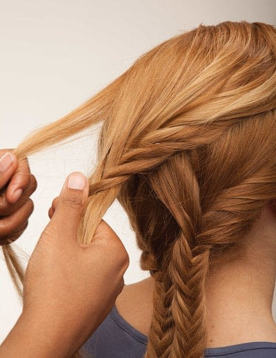 How to style a fishtail braid. The Triple Mermaid Updo  - Step 13