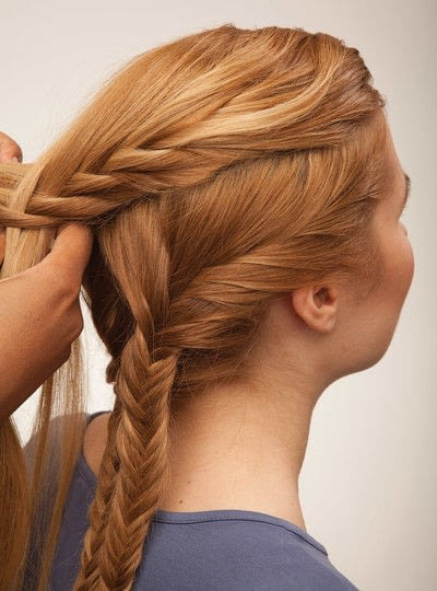 How to style a fishtail braid. The Triple Mermaid Updo  - Step 14