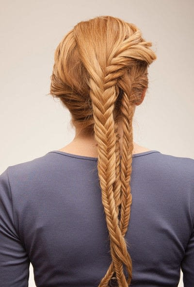 How to style a fishtail braid. The Triple Mermaid Updo  - Step 16