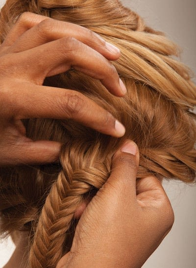 How to style a fishtail braid. The Triple Mermaid Updo  - Step 17