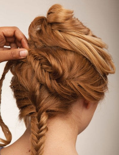 How to style a fishtail braid. The Triple Mermaid Updo  - Step 18