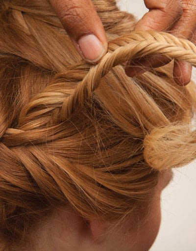 How to style a fishtail braid. The Triple Mermaid Updo  - Step 19