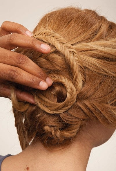 How to style a fishtail braid. The Triple Mermaid Updo  - Step 21