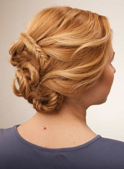 How to style a fishtail braid. The Triple Mermaid Updo  - Step 24