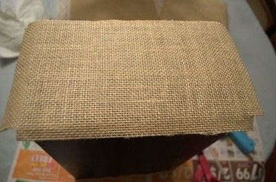 How to embellish a fabric covered box. Diy Burlap Storage Boxes - Step 8