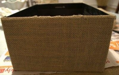 How to embellish a fabric covered box. Diy Burlap Storage Boxes - Step 9