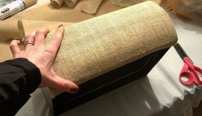 How to embellish a fabric covered box. Diy Burlap Storage Boxes - Step 10