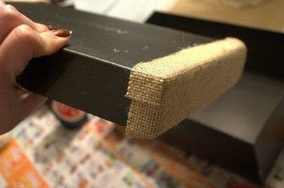 How to embellish a fabric covered box. Diy Burlap Storage Boxes - Step 11