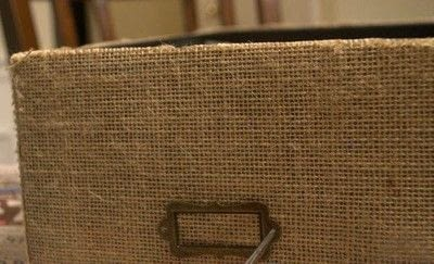 How to embellish a fabric covered box. Diy Burlap Storage Boxes - Step 13