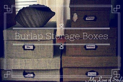 How to embellish a fabric covered box. Diy Burlap Storage Boxes - Step 14