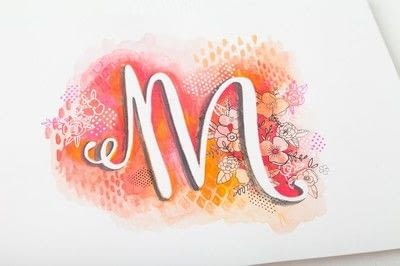 How to paint a piece of watercolor art. Doodle Letter Silhouette - Step 7