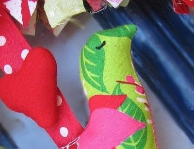 How to make a fabric wreath. Bell And Bird Christmas Wreath - Step 2