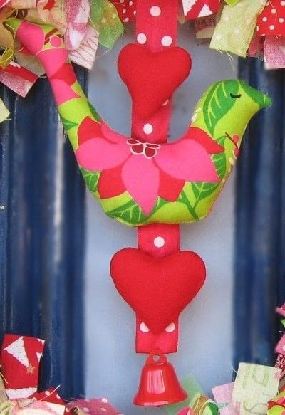 How to make a fabric wreath. Bell And Bird Christmas Wreath - Step 5