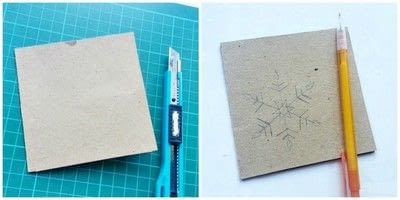 How to make a stitched card. DIY Snowflake Christmas Card - Step 1