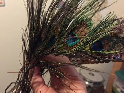 How to make a hat / a piece of headwear. Peacock Feather Tiara - Step 2