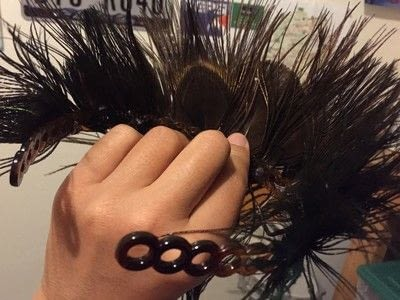 How to make a hat / a piece of headwear. Peacock Feather Tiara - Step 3